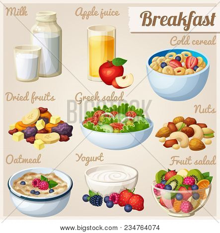 Breakfast 2. Set Of Cartoon Vector Food Icons. Milk, Apple Juice, Cold Cereal, Nuts, Dried Fruits, G