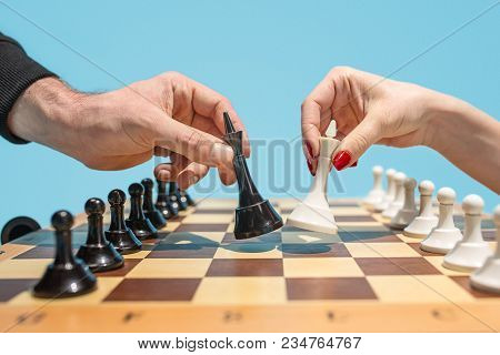 First Step. Chess Board And Game Concept. Business Ideas, Competition, Strategy And New Ideas Concep