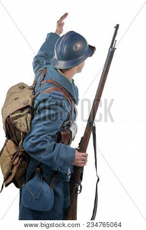 French Soldier 1914 1918 ,back View, Isolated On A White Background