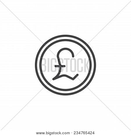 Pound Coin Outline Icon. Linear Style Sign For Mobile Concept And Web Design. Coin Cash Money Simple
