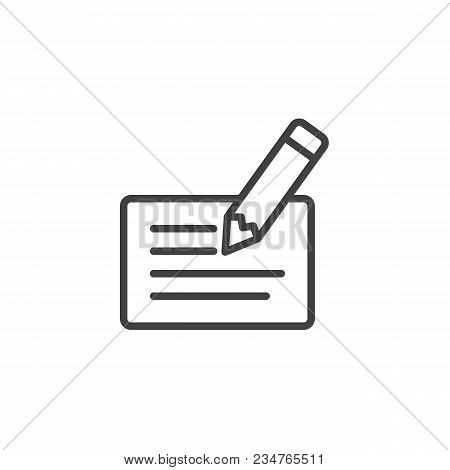 Cheque And Pen Outline Icon. Linear Style Sign For Mobile Concept And Web Design. Bank Cheque Signin