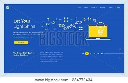Website Template Design. Modern Flat Line Vector Illustration Concept Of Web Page Design For Website