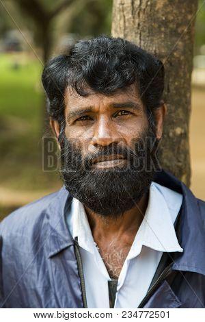 Sigiriya, Sri Lanka - January 28, 2014: Unidentified Man At Street Of Sigiriya, Sri Lanka. Sigiriya
