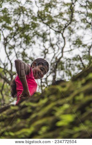 Matale, Sri Lanka- January 28, 2014: Unidentified Woman At Sigiriya Rock Fortress At Matale. Sigiriy