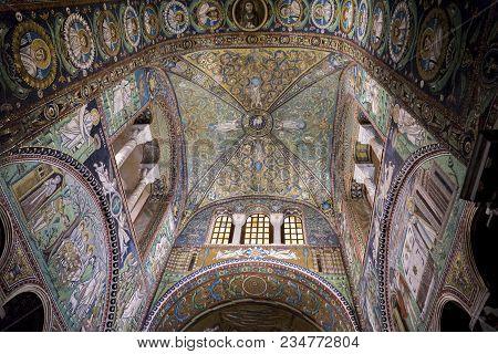 Ravenna, Italy - February 16, 2018: Interior Detail Of Basilica Of San Vitale In Ravenna, Italy. It