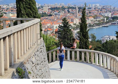 Split, Croatia - September 11, 2016: These Are Two Unidentified Young Women On The Observation Deck