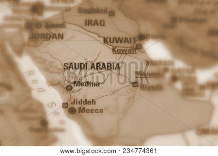 Saudi Arabia Officially The Kingdom Of Saudi Arabia, Ksa (sepia Selective Focus).