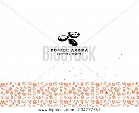 Vector Seamless Coffee Logo & Backdrop Design With Hand Drawn Coffee Beans Isolated On White Backgro