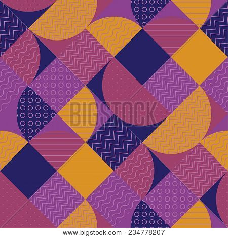 Abstract Multicolored Geometric Pattern. Geometry Stock Vector Illustration. Seamless Pattern In Vio