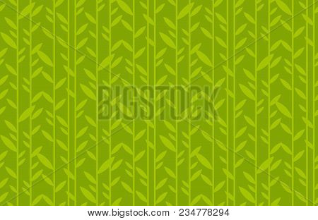 Green Leaf Geometric Vintage Seamless Pattern. Simple Retro Style Stock Vector Illustration. For Car
