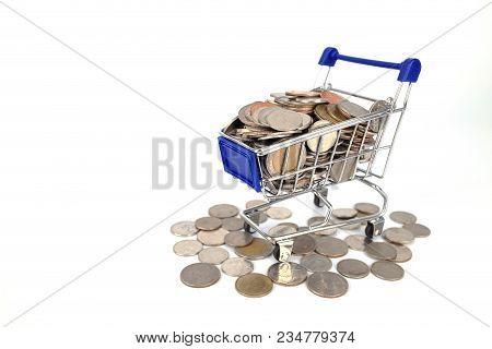 Shopping Trolley Or Shopping Cart Full Of Coins Money Isolated On White Background,finance And Money