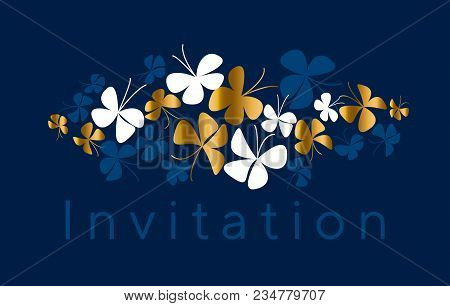 Elegant Gold Butterfly Silhouette. Stock Vector Illustration. Abstract Luxury Decorative Design Elem