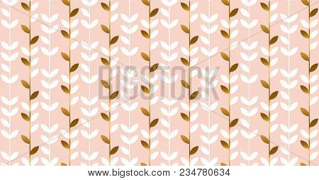 Luxury Gold And Pastel Flowers Seamless Pattern. Elegant Stock Vector Illustration. Floral Decorativ