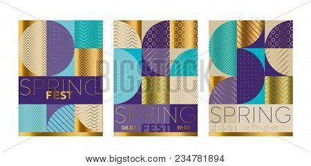 Elegant Luxury Geometric Poster Set. Abstract Stock Vector Illustration. Pastel Spring Color Light C