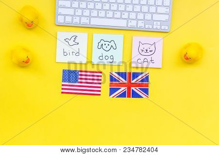 Teach English To A Child. Funny English. British And American Flags, Computer Keyboard, Stickers Wit