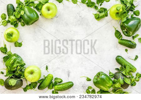 Vegetables For Greeny Smoothy With Cucumber, Pepper, Apple, Celeriac On Stone Table Background Top V