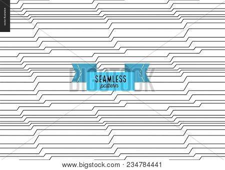 Wood Black And White Pattern. Vector Seamless Pattern. Abstract Background With Wooden Annual Rings