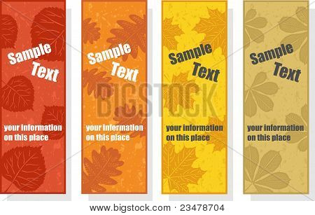Autumn bookmarks for promotion, vector illustration