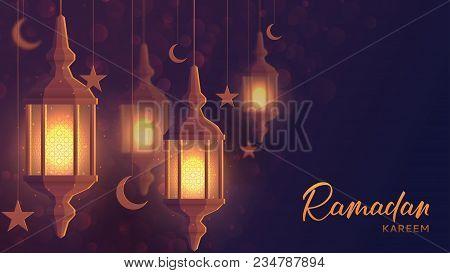 Festive Banner Design For Ramadan Kareem. Beautiful Greeting Card Template With Lantern Or Fanoos In