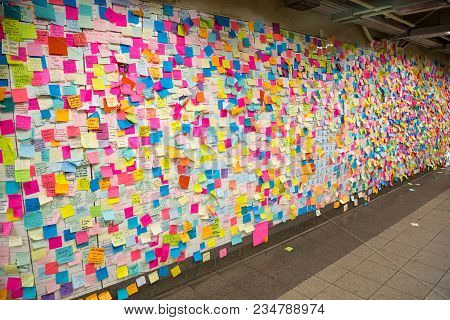 New York, United States Of America - November 21, 2016: Sticky Post-it Notes On Wall In Union Square