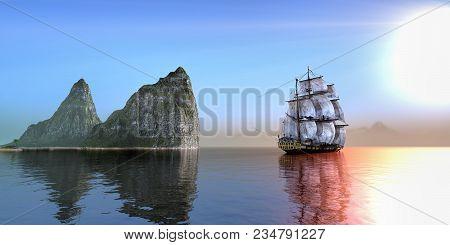 Pirate Ship Near Rock Formation Island On A Beautiful Morning