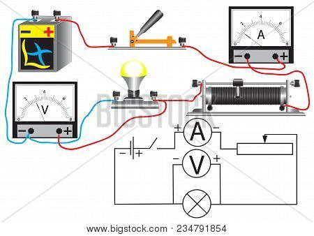 An Electrical Circuit Consisting Of A Connected: A Consumer - A Bulb, A Voltmeter For Measuring The