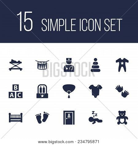Set Of 15 Baby Icons Set. Collection Of Drum, Infant, Walker And Other Elements.