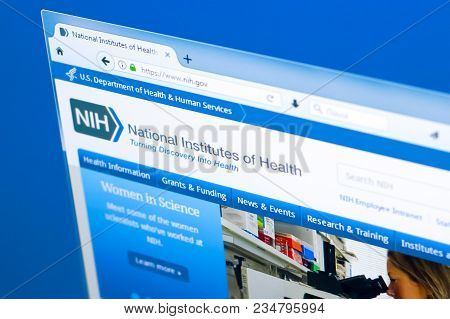 Ryazan, Russia - March 28, 2018 - Homepage Of National Institute Of Health On A Display Of Pc, Web A