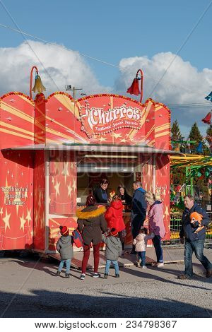 April 4th, 2018, Cork, Ireland - Churros Food Stand At Funderland Theme Park On Tramore Road; The La