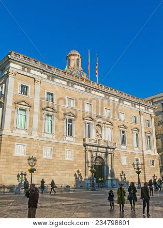 Generalitat Palace Of Catalonia In Barcelona, Spain. The Palace Houses The Offices Of The Presidency