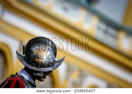 Warsaw, Poland - September 13, 2009: Royal Guard Wearing A Helmet With The Fleur De Lis Sign, At Wil