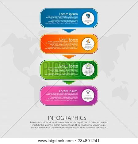 Modern Vector Illustration. Infographic Template With Four Elements, Arrows Of The Rectangle. Step B