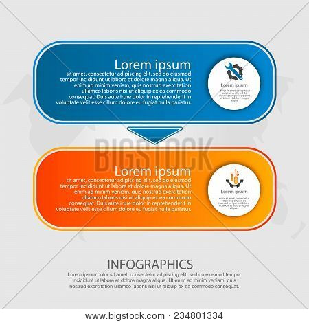 Modern Vector Illustration. Infographic Template With Two Elements, Arrows Of The Rectangle. Step By