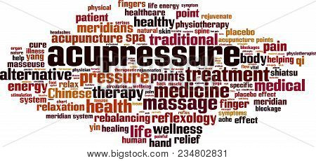 Acupressure Word Cloud Concept. Vector Illustration On White
