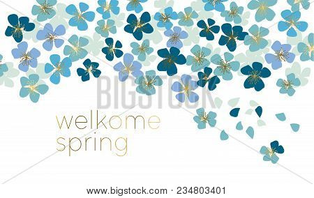 Blue Little Flower Blossom. Stock Vector Illustration. Abstract Floral Decorative Design Element For