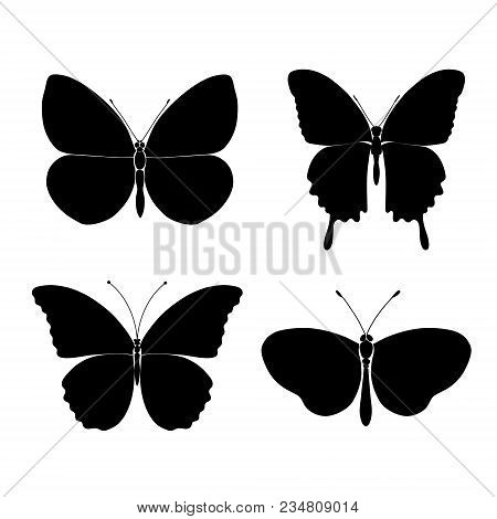 Seamless Pattern With Butterflies. Abstract Polygonal, Silhouette Of A Black Flat Butterfly