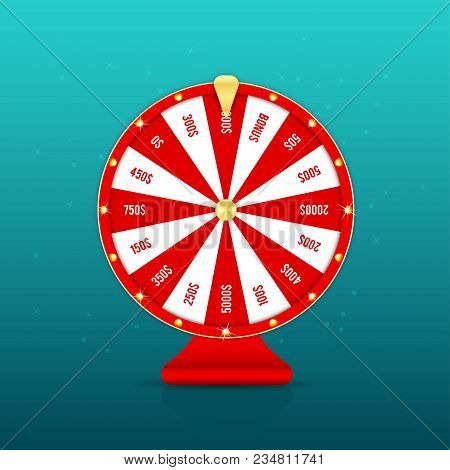 Realistic Wheel Of Fortune With Prizes Isolated On Background. Red Gambling Roulette And Fortune Whe