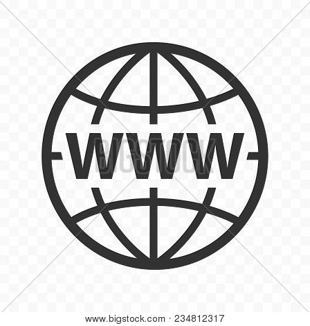 Globe symbol web icon set with www sign. Planet icon with world wide web sign. poster