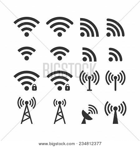 Wireless Signal Web Icon Set. Wi Fi Icons. Secured, Unsecured, Anthena, Beacon Password Protected Ic