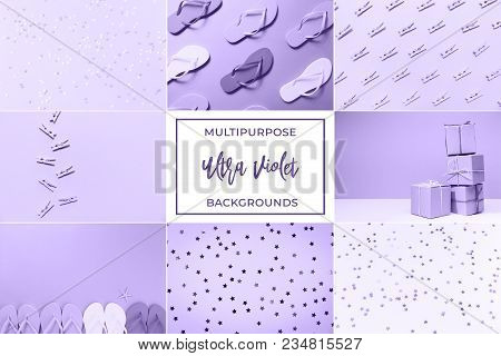 Collage With Ultra Violet Toned Images. Pantone Color Of The Year Concept. Casual, Beach And Backgro