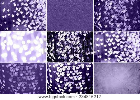 Collage With Ultra Violet Toned Images. Pantone Color Of The Year Concept. Bokeh, Sparkle And Stone