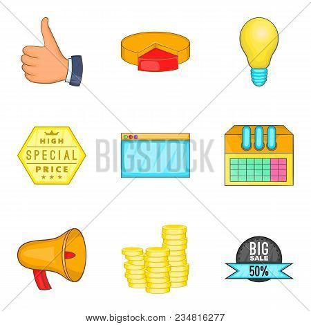Business Undertaking Icons Set. Cartoon Set Of 9 Business Undertaking Vector Icons For Web Isolated