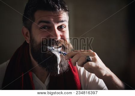 The Morning Always Starts With Good Oral Hygiene. Portrait Of Happy Bearded Man With Toothbrush Clea