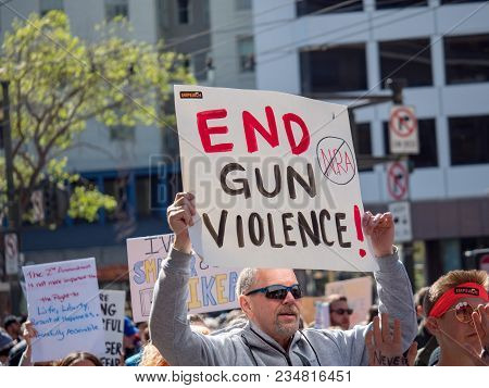 San Francisco, Ca - March 24, 2018: End Gun Violence, Anti Nra Sign At March For Our Lives Rally In