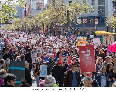 San Francisco, Ca - March 24, 2018: Protesters March At March For Our Lives Rally In San Francisco.