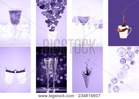 Collage With Ultra Violet Toned Images. Pantone Color Of The Year Concept. Vertical Drinks And Levit