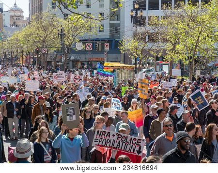 San Francisco, Ca - March 24, 2018: Anti-gun And Anti-nra March At March For Our Lives Rally In San