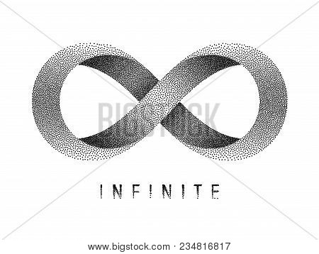 Stippled Infinite Sign. Mobius Strip Symbol. Vector Textured Illustration On White Background.