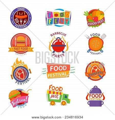 Food Festival Logo Vector Festive Street Fastfood Logotype For Restaurant Event In City Illustration