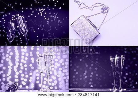 Collage With Ultra Violet Toned Images. Pantone Color Of The Year Concept. Winter Holiday And Party